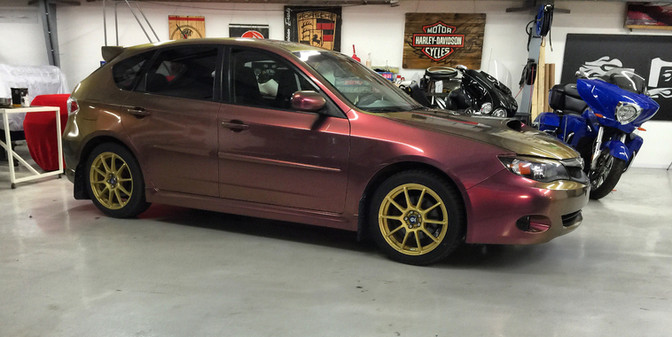 Subaru WRX Wrap - Aubergine/Gold Color Flip