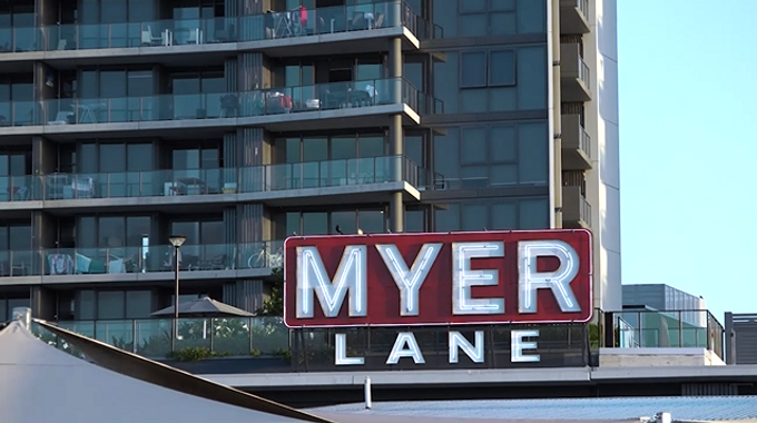 Historic Myer Sign Returns to Coorparoo Square