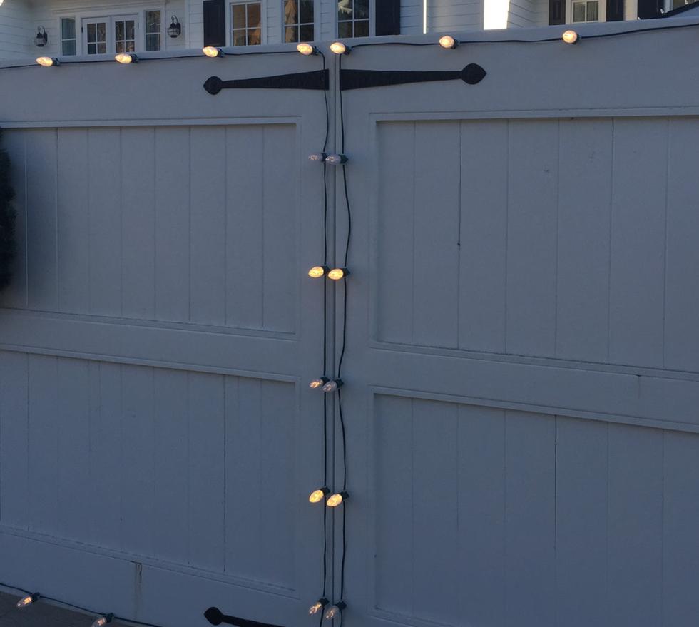 Christmas Lights on Gate Doors