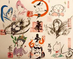 8ヶ寺社寄書き色紙