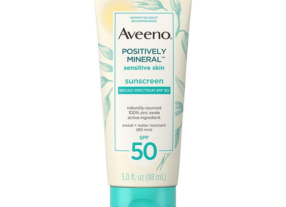 Aveeno Positively Mineral Sensitive Skin Sunscreen SPF50 88ml