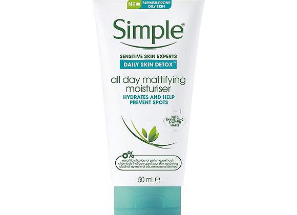 Simple Daily Skin Detox All Day Mattifying Moisturiser