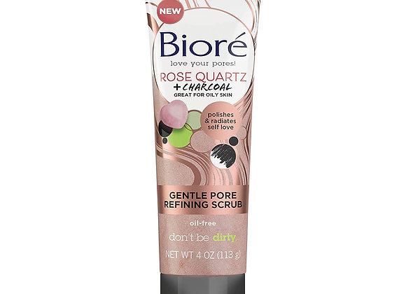 Biore Rose Quartz + Charcoal Gentle Pore Refining Scrub 110ml