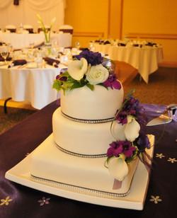 Floral & Bling Wedding Cake