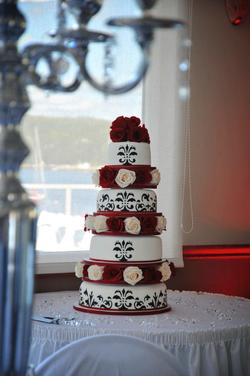 Rose & Handpainted Wedding Cake