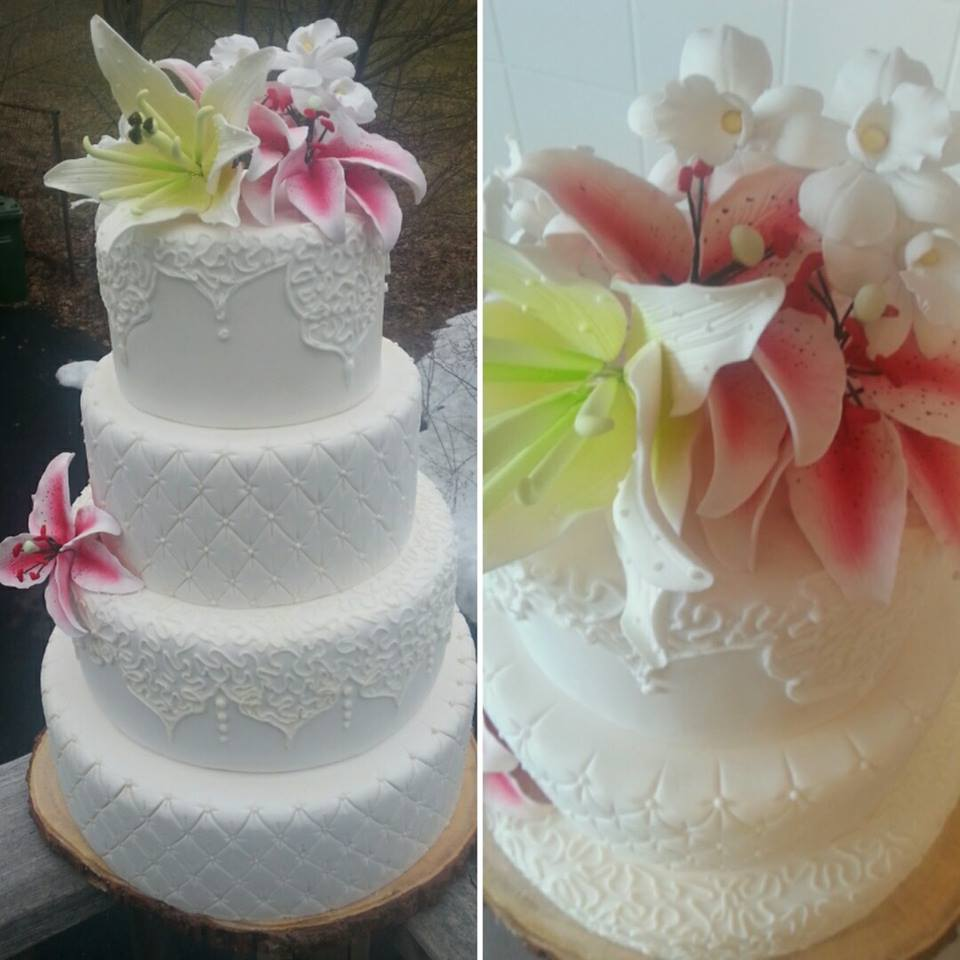 Tiered fondant lace and quilted cake