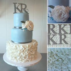 Monogram & Ruffles Cake