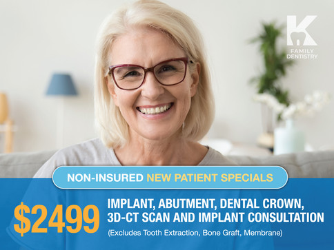 $2499 Implant, Abutment, Dental Crown, 3D-CT Scan and Implant Consultation