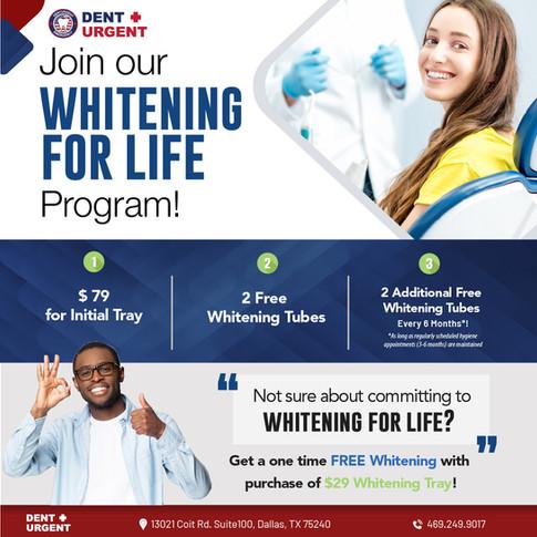 DentUrgent Whitening for life promotion