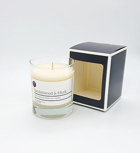 Sandalwood & Musk Scented Glass Candle