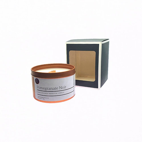 Pomegranate Noir Scented Woodwick Candle. Rose Gold