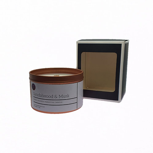 Sandalwood & Musk Scented Woodwick Candle. Rose Gold