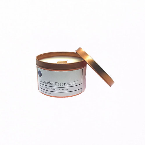 Lavender Essential Oil Scented Wood wick Candle. Rose Gold