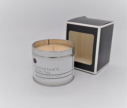 Coconut & White Tea Leaf Scented Paraffin Candle