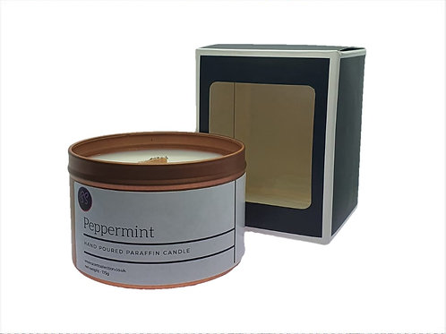 Peppermint Essential Oil Scented Wood wick Candle. Rose Gold