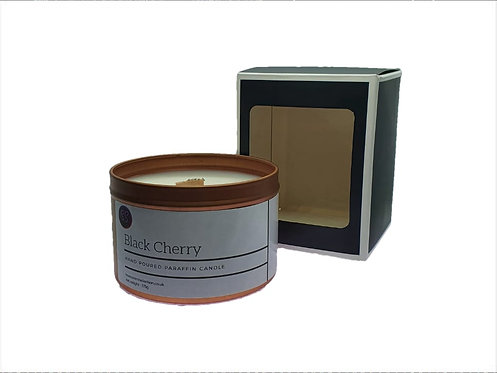 Black Cherry Scented Woodwick Candle. Rose Gold