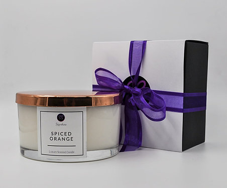 Spiced Orange 3 Wick Large Candle With Rose Gold Lid.