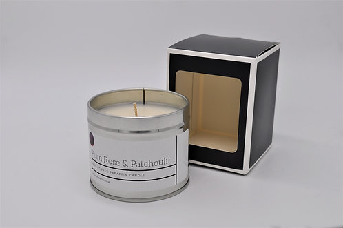 Plum Rose & Patchouli Scented Paraffin Candle