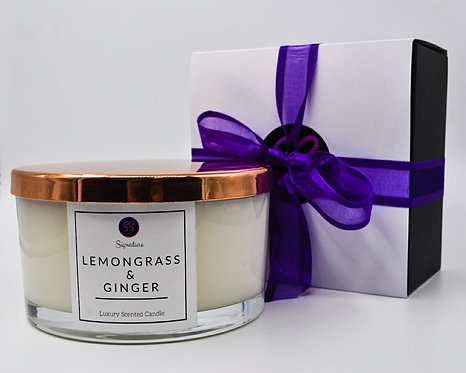 Lemongrass & Ginger 3 Wick Large Candle With Rose Gold Lid.