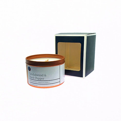 Sandalwood & Black Pepper Scented Woodwick Candle. Rose Gold