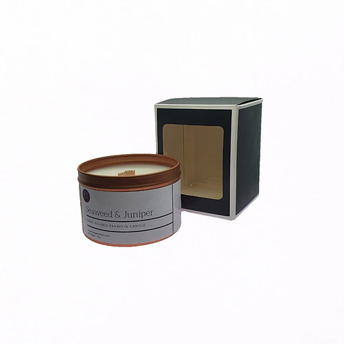 Seaweed & Juniper Scented Woodwick Candle. Rose Gold