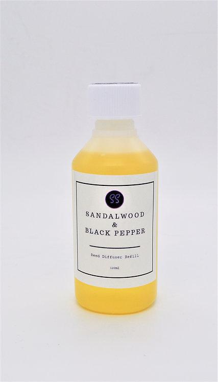 Sandalwood & Black Pepper Reed Diffuser Refill 100ml