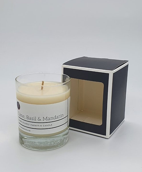 Lime, Basil & Mandarin Scented Glass Candle