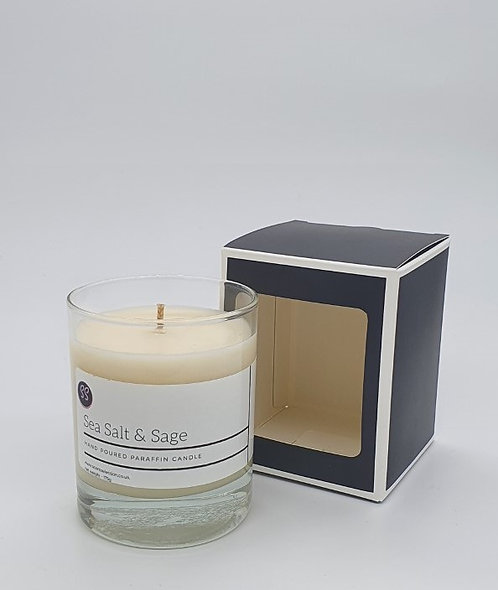 Sea Salt & Sage Scented Glass Paraffin Wax Candle