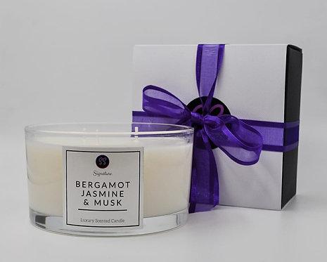 Bergamot, Jasmine & Musk 3 Wick Large Candle With Rose Gold Lid.