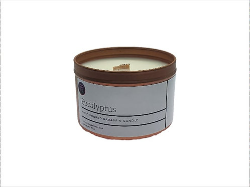 Eucalyptus Essential Oil Scented Wood wick Candle. Rose Gold