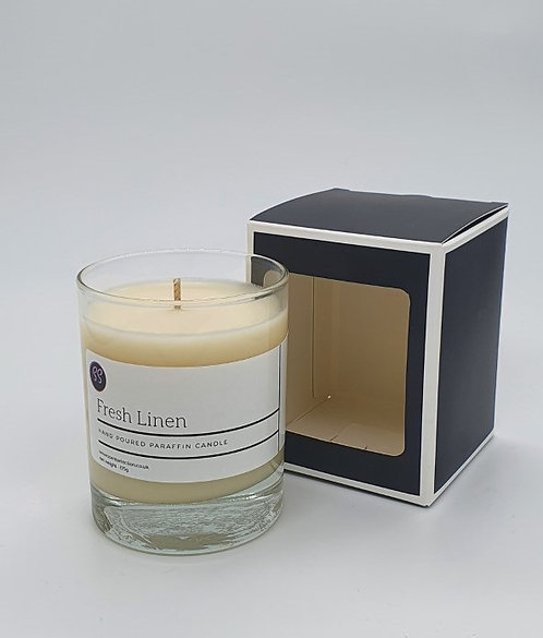 Fresh Linen Scented Paraffin Wax Glass Candle