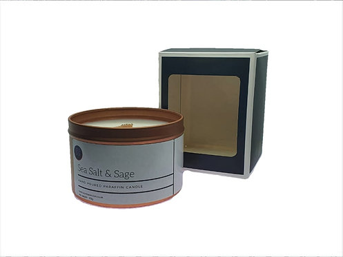 Sea Salt & Sage Scented Woodwick Candle. Rose Gold