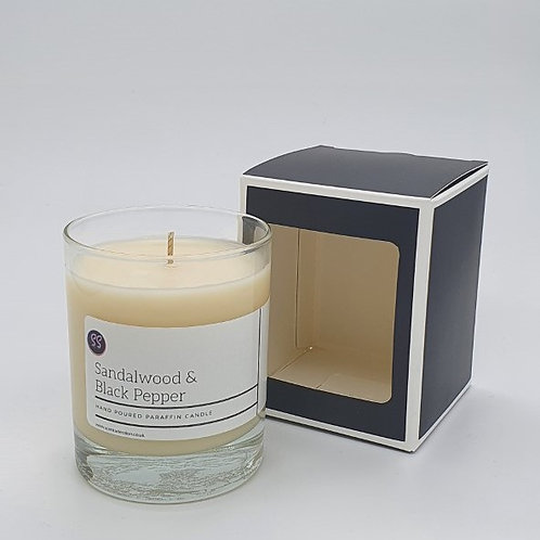 Sandalwood & Black Pepper Scented Glass Candle.