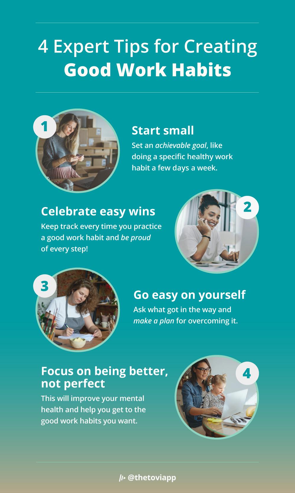 Infographic explaining 4 expert tips for creating good work habits