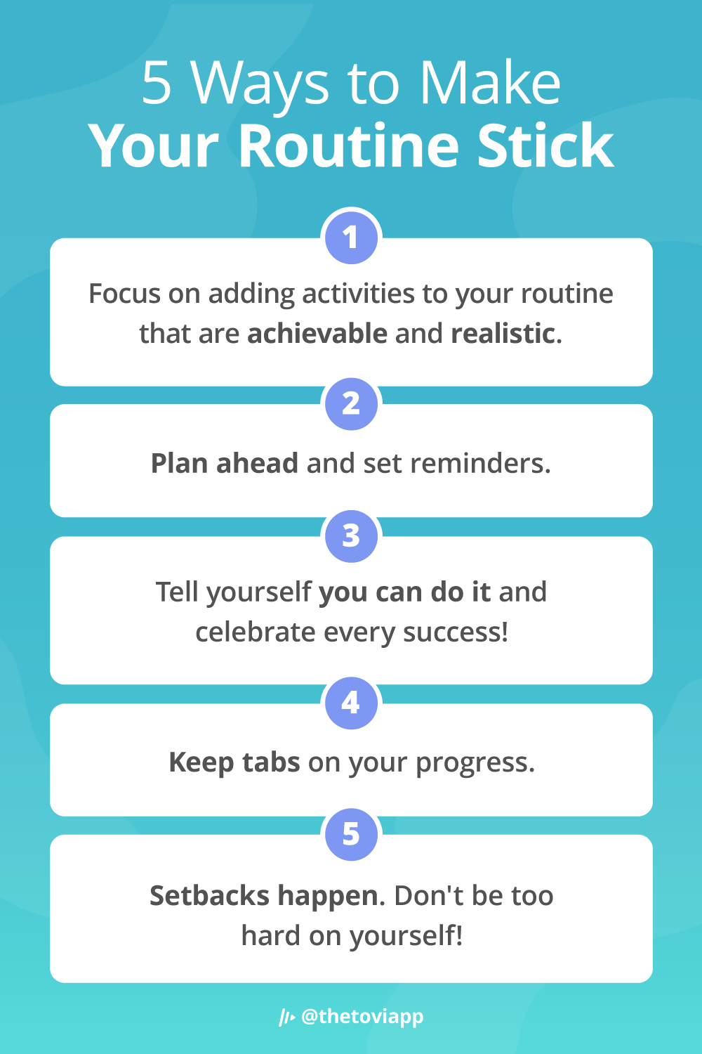Infographic explaining 5 ways to make your routine stick
