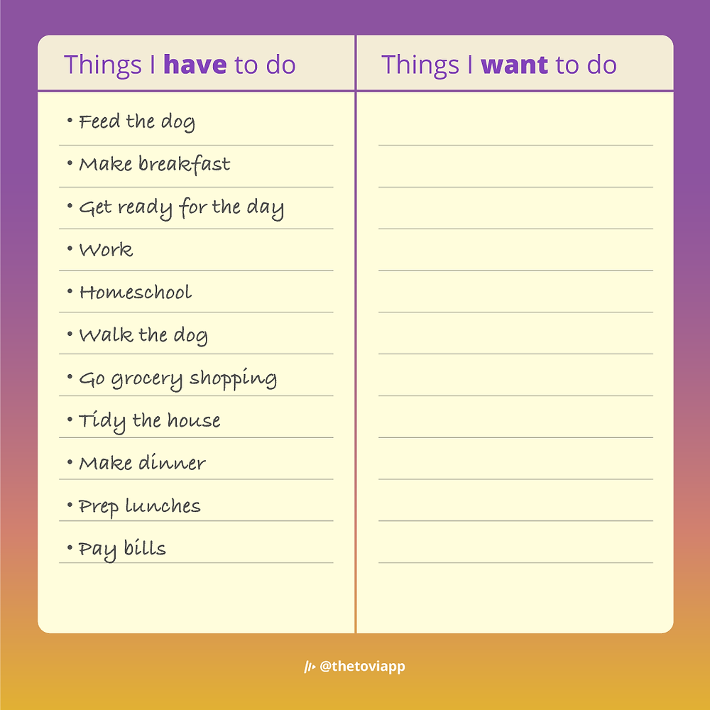 An example of a have-to-do list