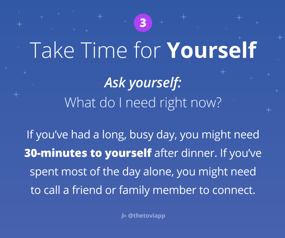 Infographic explaining how to take time for yourself in the evening.