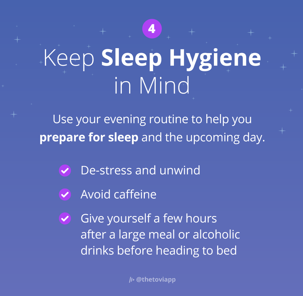 Infographic explaining how to use your evening routine to get better sleep.