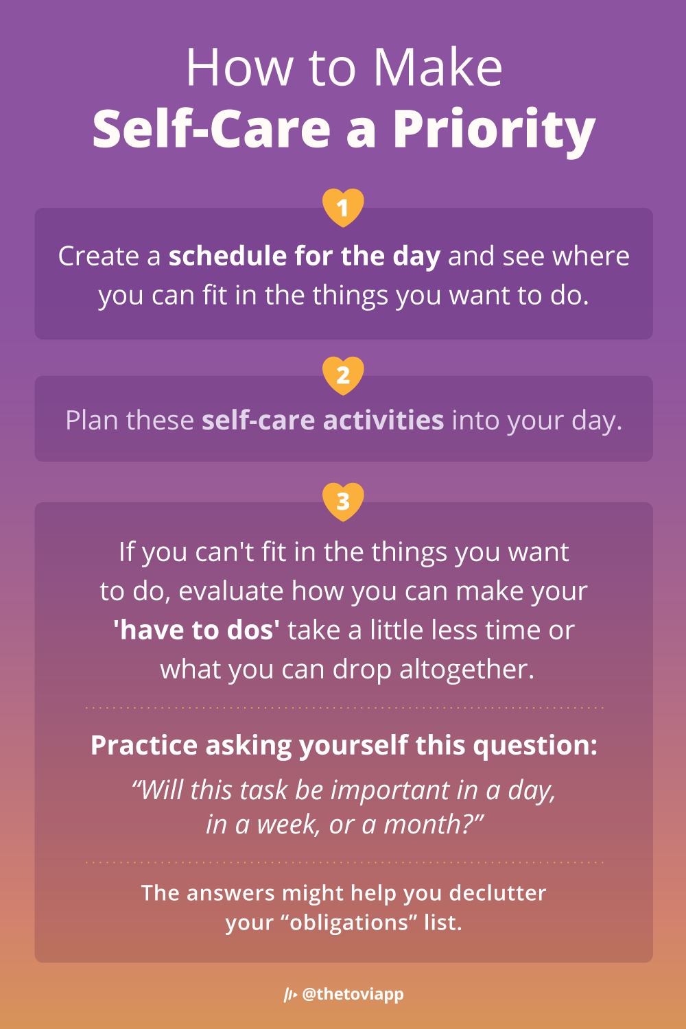 An infographic explaining how to make self-care a priority