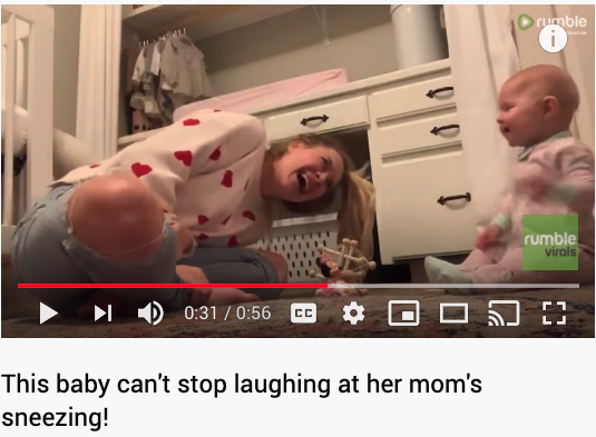 YouTube video shared of TOVI Play of baby that can't stop laughing at her mom sneezing