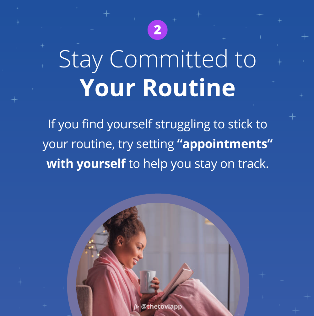 Infographic explaining how to stay commited to your evening routine.