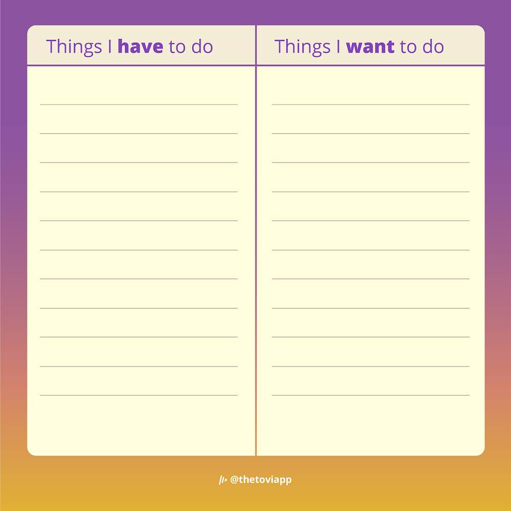 A to-do list template that divides have-to-do and want-to-do activities