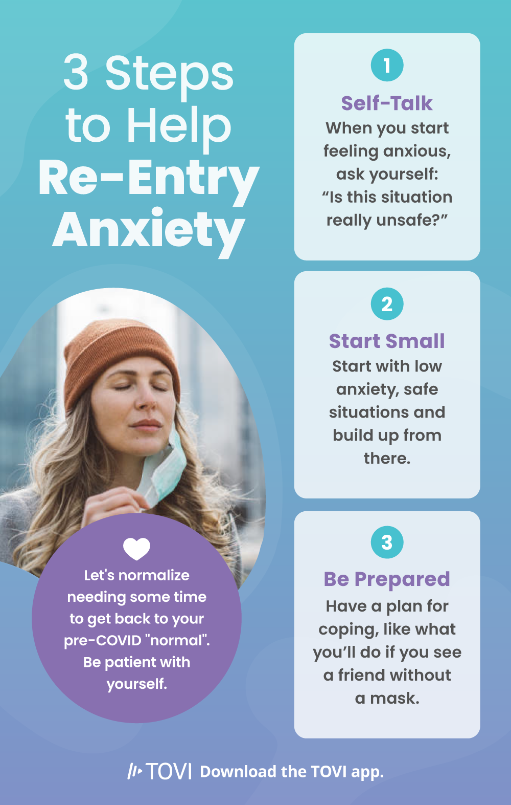 Infographic explaining 3 steps to help with re-entry anxiety
