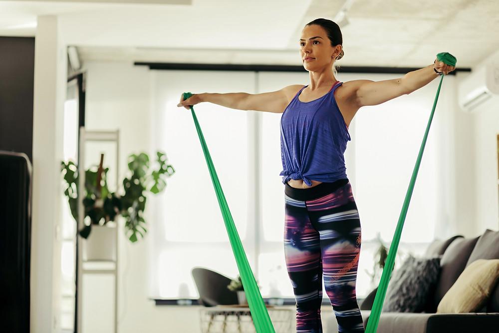 A woman strength training.