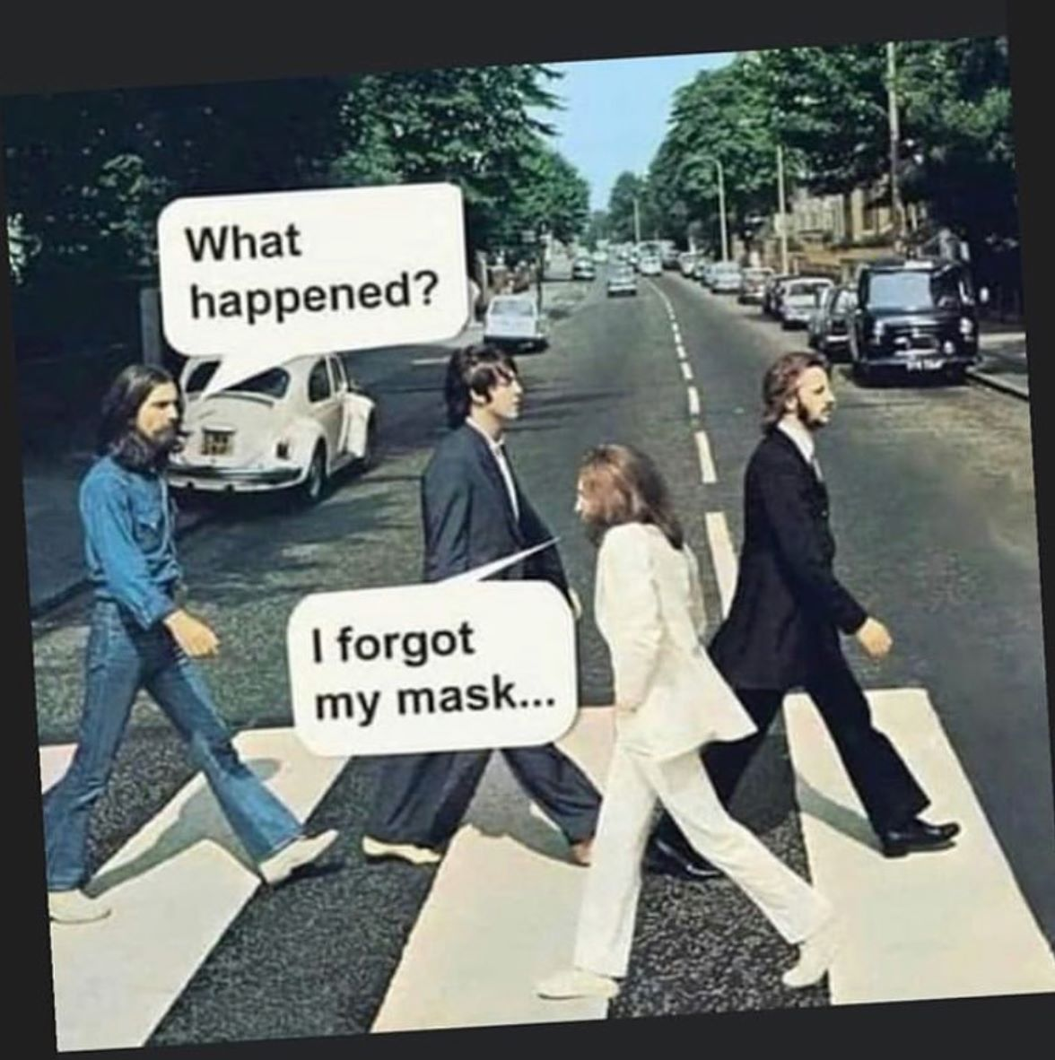 The Beatles forgot my mask meme shared in TOVI Play