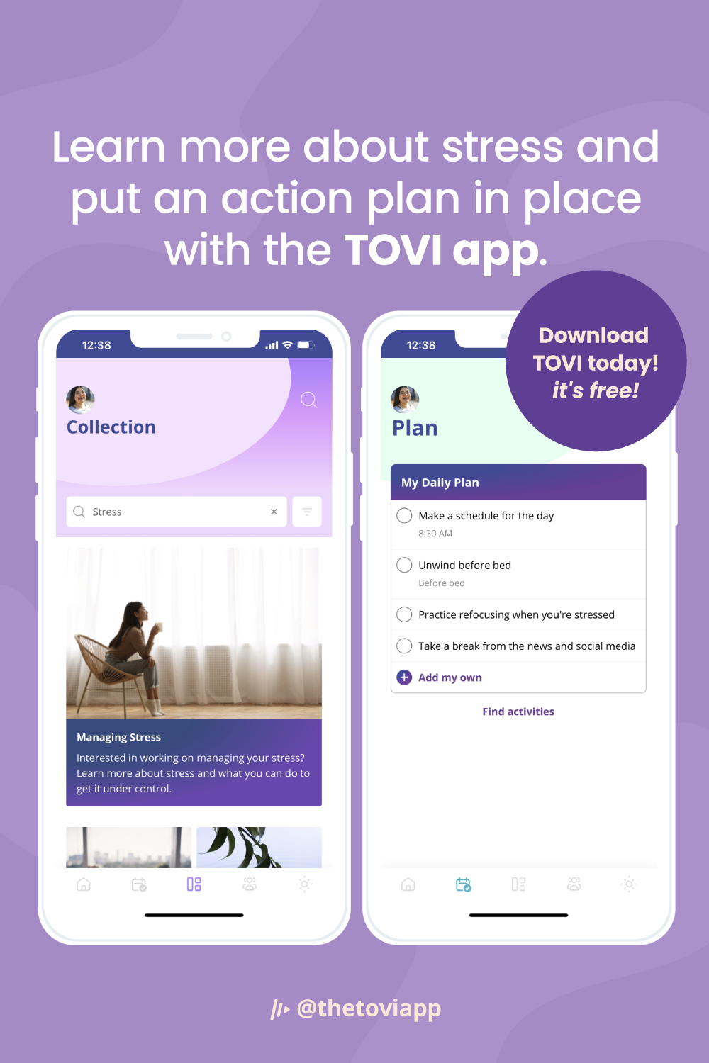 Learn more about stress and put an action plan in place with the TOVI app.