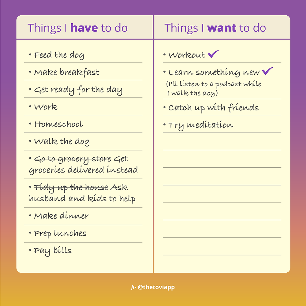 An example of how to re-evaluate and re-prioritize your have-to-do list to make more time for things you want to do.