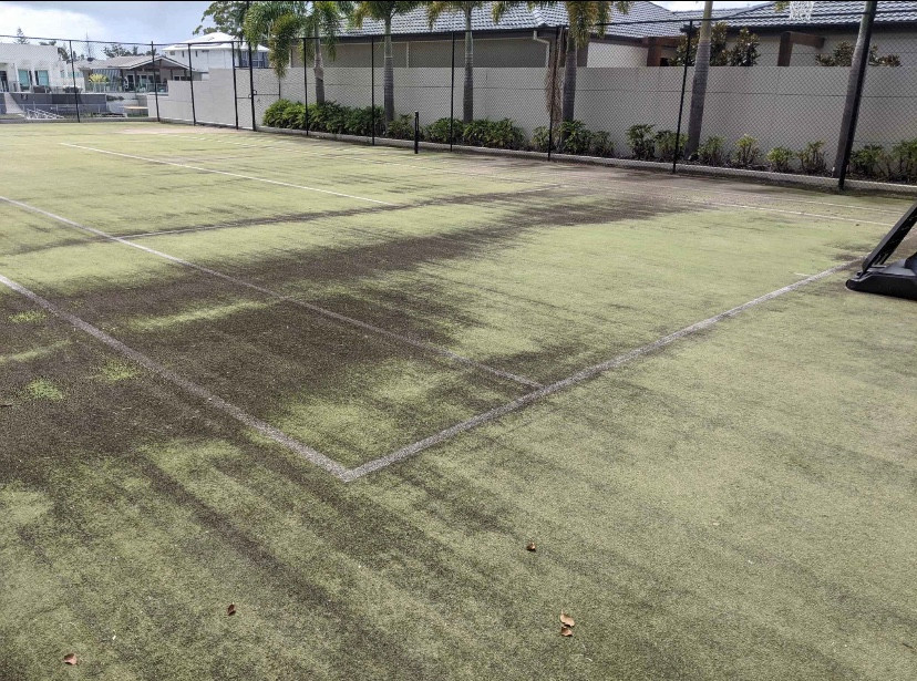 dirty artificial tennis court at a home we maintain in bundle. This home has a beautiful outdoor area.