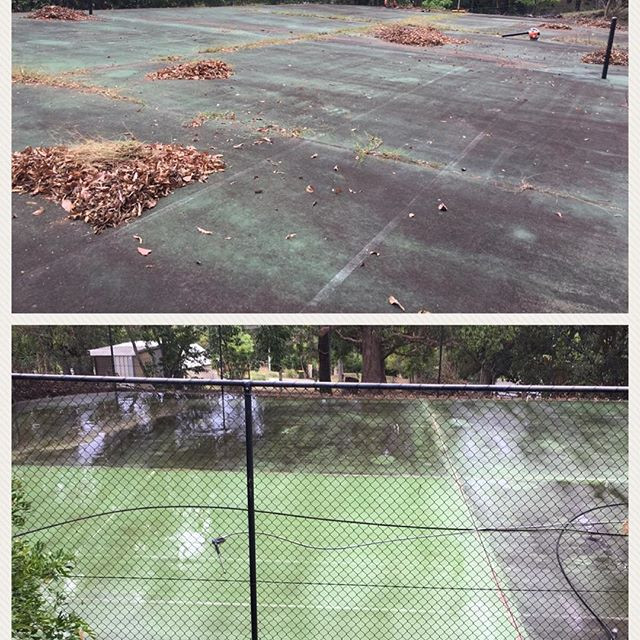 look at the results this tennis court received after we pressure cleaned it in nerang
