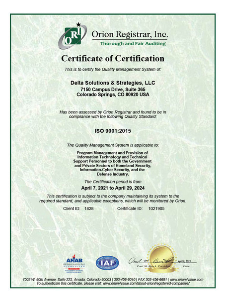 ISO 9001 2015 Certificate by Orion Expir